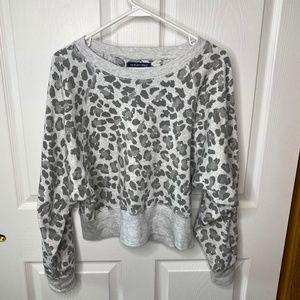 gray leopard print crop style sweatshirt